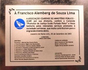 Comenda Promotor de Justiça - Guido Furtado Pinto ACMP - Associação Cearense do Mistério Público - 2003
